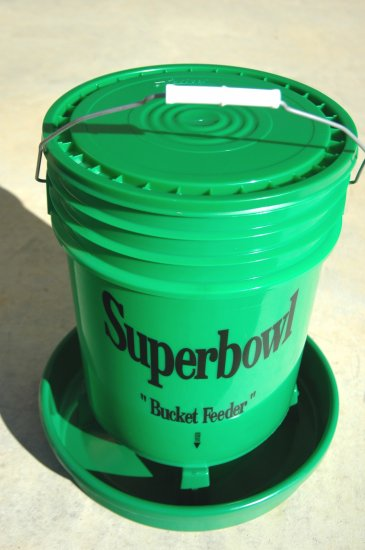 Superbowl bucket feeder for poultry