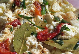 Bay, basil, sage, roasted bell pepper and olive oil makes a delicious marinade.