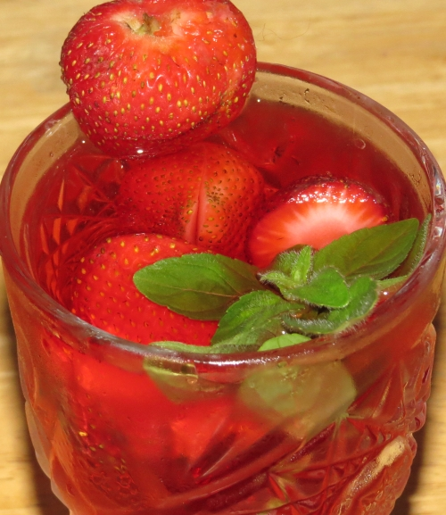 "Freeze strawberries for ""ice"" cubes that won't water down your beverage."