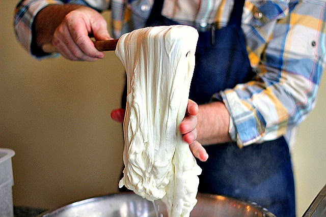 Stretching Mozzarella Cheese
