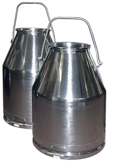 80 lb SS Milking Bucket with Long Handle 34 liter