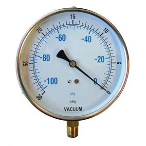 Bottom Mount Vacuum Gauge w / 0-30 In / KPA--SS