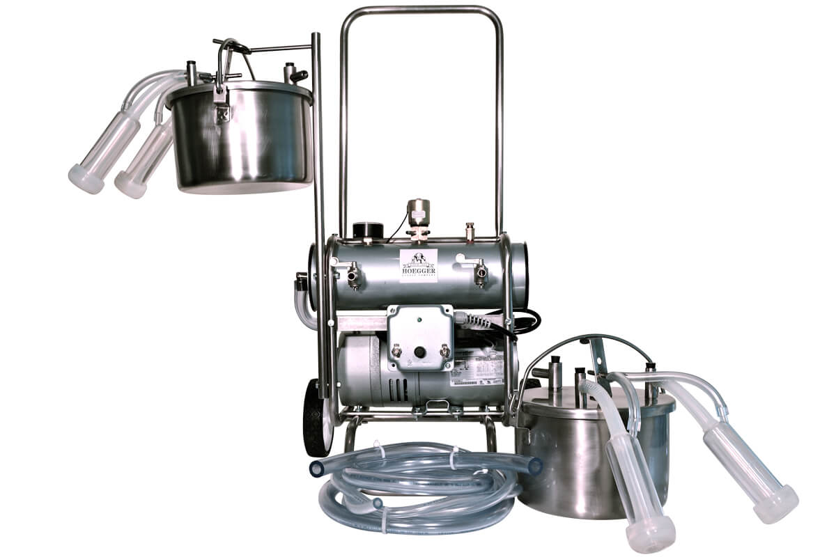 Hoegger Two Goat Belly Pail Portable Milker System