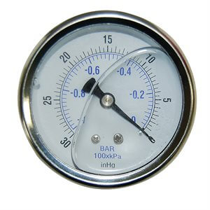 Glycerine Back-Mount Vacuum Gauge w / 0-30 In / KPA