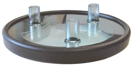 "Clear Fresh Cow Lid w/Three 5/8"" ID Nipples - Complete"