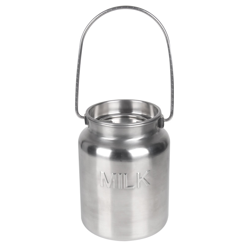 1 Gallon Stainless Steel Bucket with Lid - MILK