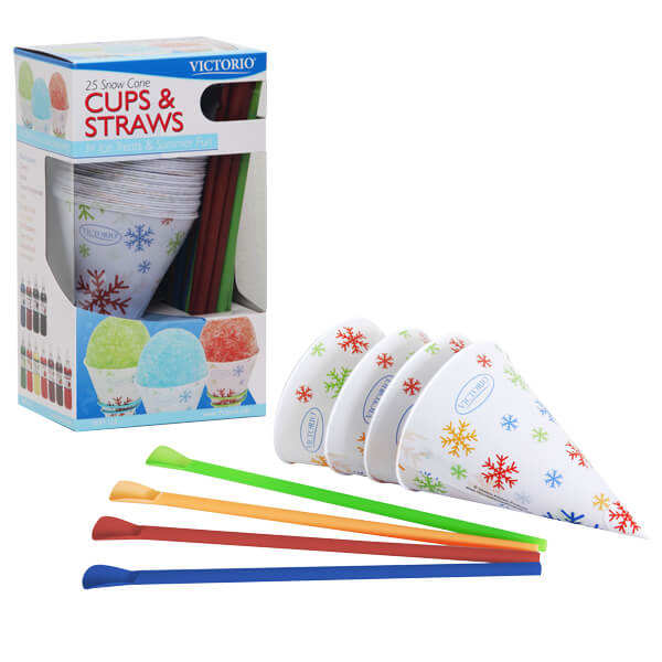 Snow Cone Cups and Straws - 4 sets
