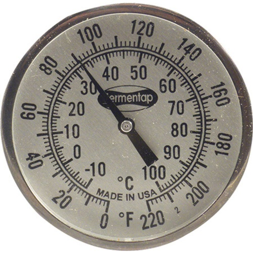 "Thermometer - 2"" Dial 12"" Stainless Stem"