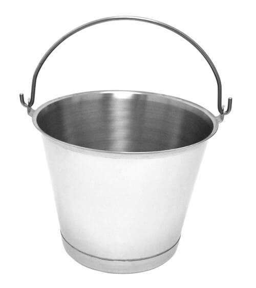 Stainless Steel Milking Pail with Chime - 13 QT Case of 6